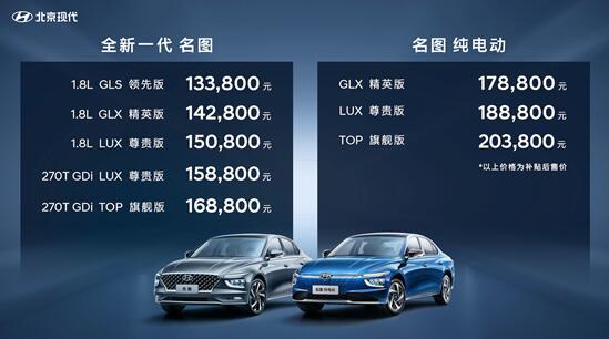 推8款车型 全新现代名图家族上市 售价13.38-20.38万元
