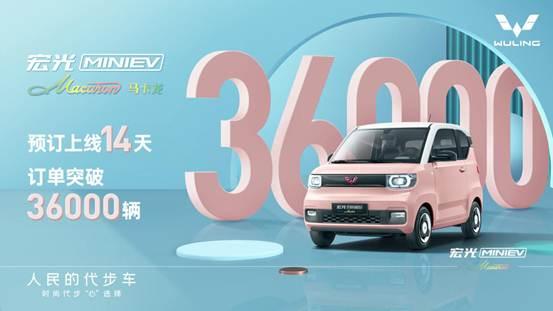 说明: 宏光MINIEV马卡龙预订14天订单突破36000台
