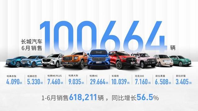 说明: 长城汽车1-6月销量
