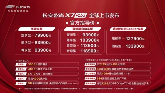 推9款车型 长安欧尚X7PLUS正式上市 售价7.99-13.39万